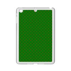 Mini Red Dots On Christmas Green Ipad Mini 2 Enamel Coated Cases by PodArtist