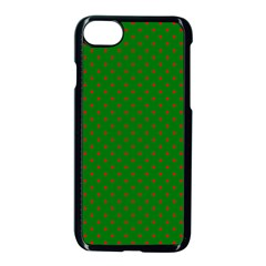 Mini Red Dots On Christmas Green Apple Iphone 8 Seamless Case (black) by PodArtist