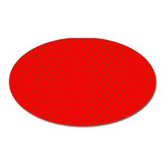 Small Christmas Green Polka Dots On Red Oval Magnet by PodArtist
