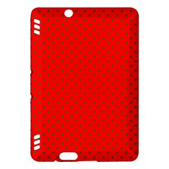 Small Christmas Green Polka Dots On Red Kindle Fire Hdx Hardshell Case by PodArtist