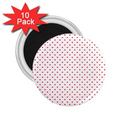 Small Christmas Red Polka Dot Hearts On Snow White 2 25  Magnets (10 Pack)  by PodArtist