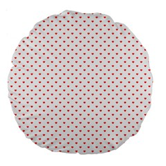 Small Christmas Red Polka Dot Hearts On Snow White Large 18  Premium Flano Round Cushions by PodArtist