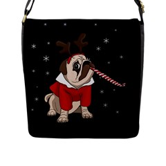 Pug Xmas Flap Messenger Bag (l)  by Valentinaart