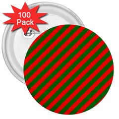 Red And Green Christmas Candycane Stripes 3  Buttons (100 Pack)  by PodArtist
