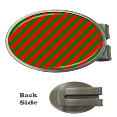 Red And Green Christmas Candycane Stripes Money Clips (oval)  by PodArtist