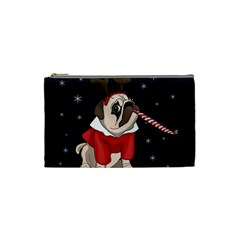 Pug Xmas Cosmetic Bag (small)  by Valentinaart
