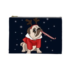 Pug Xmas Cosmetic Bag (large)  by Valentinaart