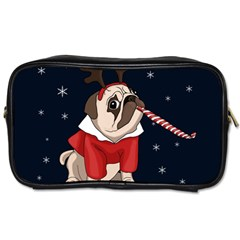 Pug Xmas Toiletries Bags 2 Side by Valentinaart