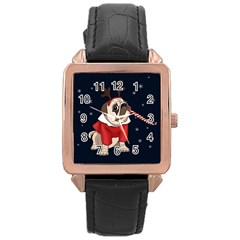 Pug Xmas Rose Gold Leather Watch  by Valentinaart