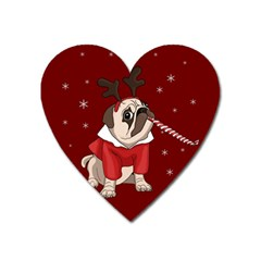 Pug Xmas Heart Magnet by Valentinaart