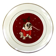 Pug Xmas Porcelain Plates by Valentinaart