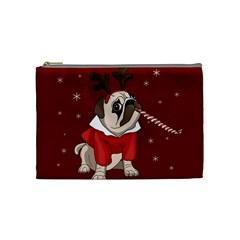 Pug Xmas Cosmetic Bag (medium)  by Valentinaart