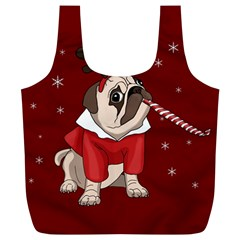 Pug Xmas Full Print Recycle Bags (l)  by Valentinaart