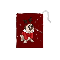 Pug Xmas Drawstring Pouches (small)  by Valentinaart