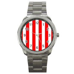 Wide Red And White Christmas Cabana Stripes Sport Metal Watch by PodArtist