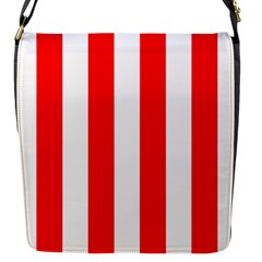 Wide Red And White Christmas Cabana Stripes Flap Messenger Bag (s) by PodArtist