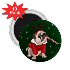 Pug Xmas 2 25  Magnets (10 Pack)  by Valentinaart