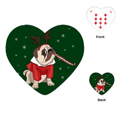 Pug Xmas Playing Cards (heart)  by Valentinaart
