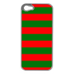 Red And Green Christmas Cabana Stripes Apple Iphone 5 Case (silver) by PodArtist