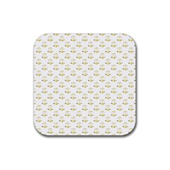 Gold Scales Of Justice On White Repeat Pattern All Over Print Rubber Coaster (square)  by PodArtist