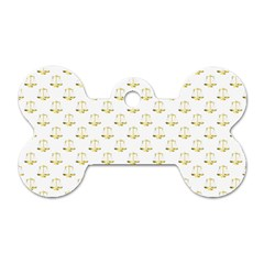 Gold Scales Of Justice On White Repeat Pattern All Over Print Dog Tag Bone (two Sides) by PodArtist