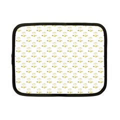 Gold Scales Of Justice On White Repeat Pattern All Over Print Netbook Case (small)  by PodArtist