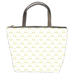 Gold Scales Of Justice On White Repeat Pattern All Over Print Bucket Bags by PodArtist