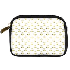 Gold Scales Of Justice On White Repeat Pattern All Over Print Digital Camera Cases by PodArtist
