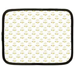 Gold Scales Of Justice On White Repeat Pattern All Over Print Netbook Case (xl)  by PodArtist