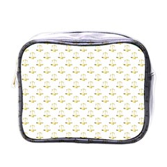 Gold Scales Of Justice On White Repeat Pattern All Over Print Mini Toiletries Bags by PodArtist