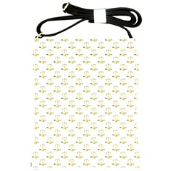 Gold Scales Of Justice On White Repeat Pattern All Over Print Shoulder Sling Bags by PodArtist