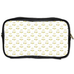 Gold Scales Of Justice On White Repeat Pattern All Over Print Toiletries Bags by PodArtist