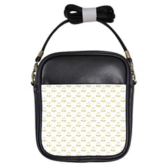 Gold Scales Of Justice On White Repeat Pattern All Over Print Girls Sling Bags by PodArtist