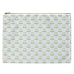 Gold Scales Of Justice On White Repeat Pattern All Over Print Cosmetic Bag (xxl)  by PodArtist