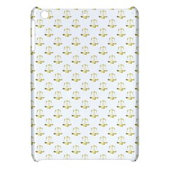 Gold Scales Of Justice On White Repeat Pattern All Over Print Apple Ipad Mini Hardshell Case by PodArtist