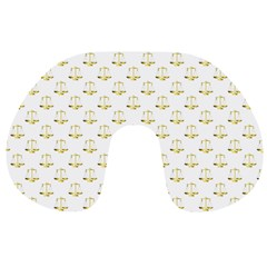 Gold Scales Of Justice On White Repeat Pattern All Over Print Travel Neck Pillows by PodArtist