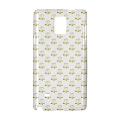 Gold Scales Of Justice On White Repeat Pattern All Over Print Samsung Galaxy Note 4 Hardshell Case by PodArtist