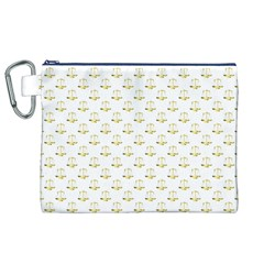Gold Scales Of Justice On White Repeat Pattern All Over Print Canvas Cosmetic Bag (xl) by PodArtist