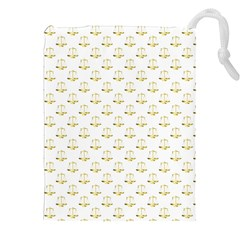 Gold Scales Of Justice On White Repeat Pattern All Over Print Drawstring Pouches (xxl) by PodArtist