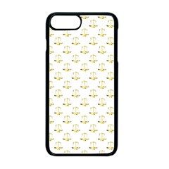 Gold Scales Of Justice On White Repeat Pattern All Over Print Apple Iphone 7 Plus Seamless Case (black) by PodArtist