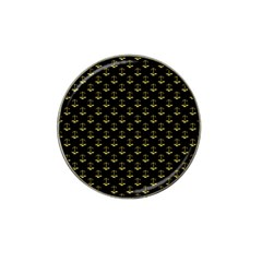 Gold Scales Of Justice On Black Repeat Pattern All Over Print  Hat Clip Ball Marker (4 Pack) by PodArtist