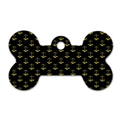 Gold Scales Of Justice On Black Repeat Pattern All Over Print  Dog Tag Bone (two Sides) by PodArtist