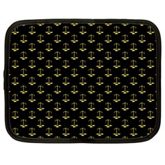 Gold Scales Of Justice On Black Repeat Pattern All Over Print  Netbook Case (large) by PodArtist