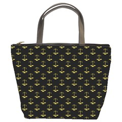 Gold Scales Of Justice On Black Repeat Pattern All Over Print  Bucket Bags by PodArtist