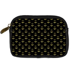 Gold Scales Of Justice On Black Repeat Pattern All Over Print  Digital Camera Cases by PodArtist
