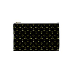 Gold Scales Of Justice On Black Repeat Pattern All Over Print  Cosmetic Bag (small)  by PodArtist