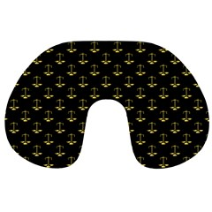 Gold Scales Of Justice On Black Repeat Pattern All Over Print  Travel Neck Pillows by PodArtist