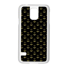 Gold Scales Of Justice On Black Repeat Pattern All Over Print  Samsung Galaxy S5 Case (white) by PodArtist