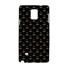 Gold Scales Of Justice On Black Repeat Pattern All Over Print  Samsung Galaxy Note 4 Hardshell Case by PodArtist