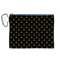 Gold Scales Of Justice On Black Repeat Pattern All Over Print  Canvas Cosmetic Bag (xl) by PodArtist